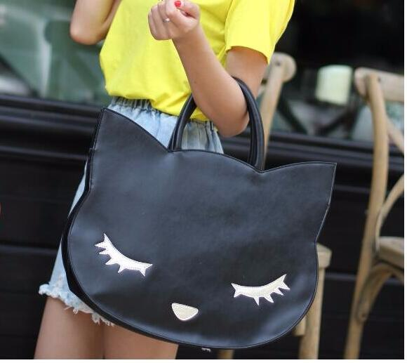 1 piece black Cat head Ear face smile Shoulder Bag High Quality PU Leather Crossbody Quiled Embroidery Round Handbag M size large 24x24 cm simulation white cat with yellow head cat model lifelike big head squatting cat model decoration t187
