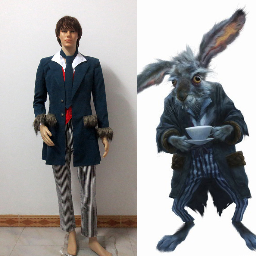 Alice in Wonderland White Rabbit The March Hare Lunatic Hare Cosplay Costume Full Set Custom Made Any Size