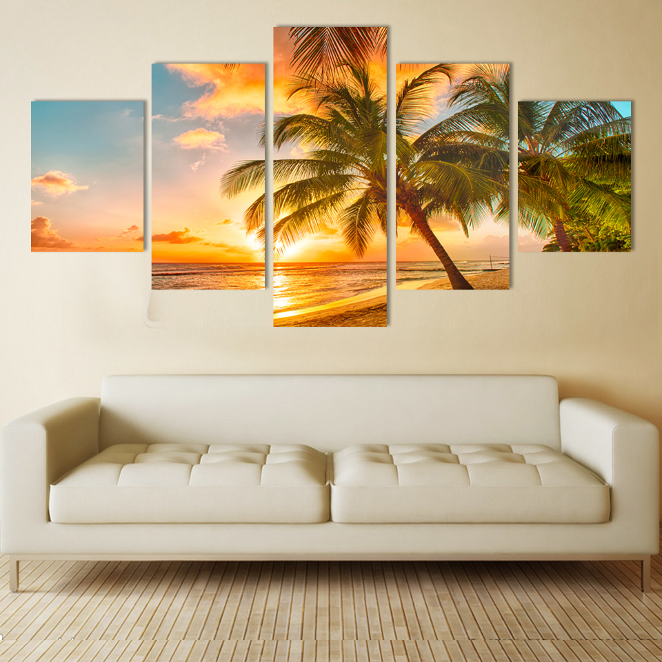 Free shipping 5 Piece Wall Decor painting Canvas Art Beautiful beaches HD picture Print on canvs no frame ...