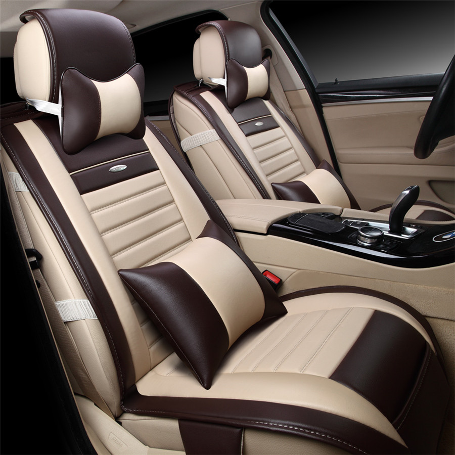 9pcs/set Beige Color PU Leather Universal Auto Car Seat Covers Automobile Seat Cover Chair Cushion for Lada Kalina Toyota Suzu kkysyelva universal leather car seat cover set for toyota skoda auto driver seat cushion interior accessories