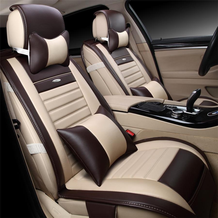 9pcs set beige color pu leather universal auto car seat covers automobile seat cover chair