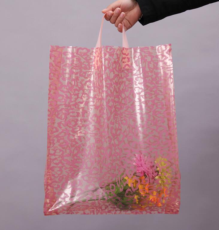 SIZE: 30*41cm Pink shopping bag with handle plastic gift bag/plastic packaging bag for garment