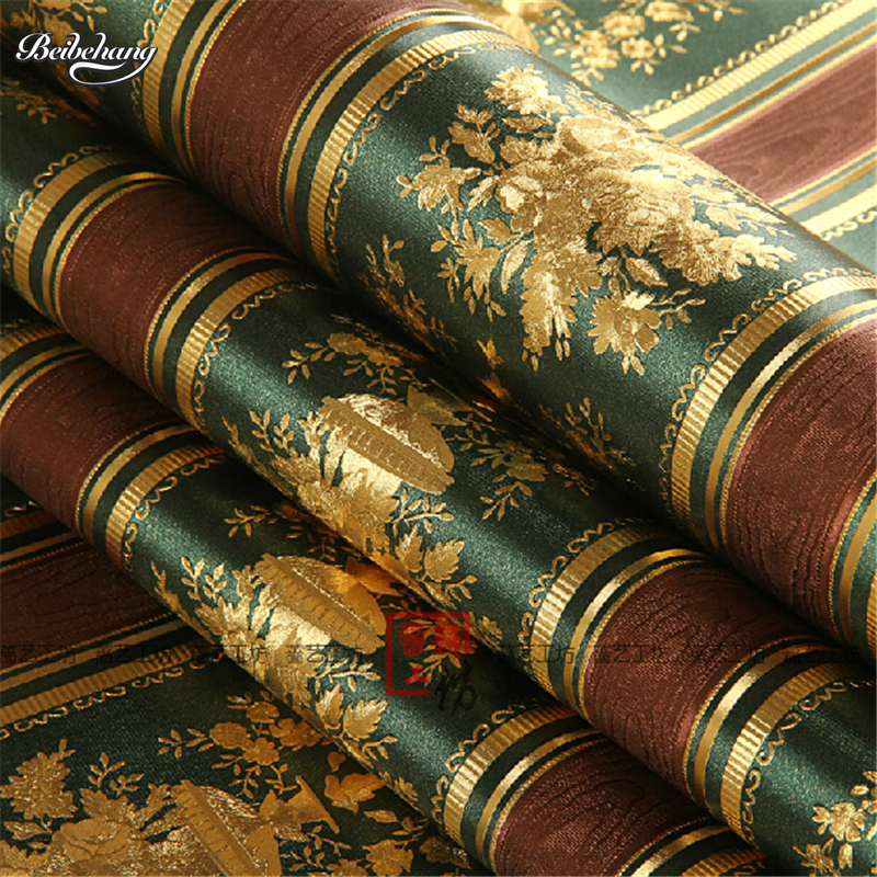 beibehang Luxury Gold Foil Wallpaper 3D Floral Striped Wallpaper Roll Living Room TV Wall Paper ...