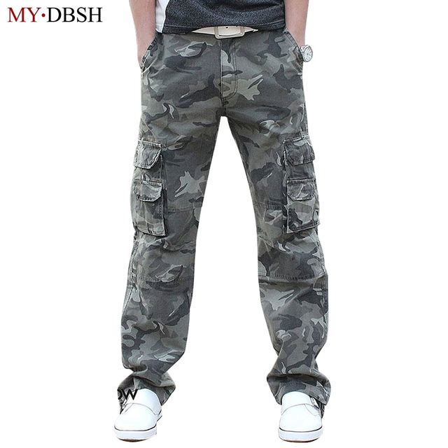 63255b4ba72 2019 New Men s Casual Loose Camouflage Pants Lard-bucket Fashion Men Cotton  Cargo Pants Leisure Man Camo Trousers Free Shipping