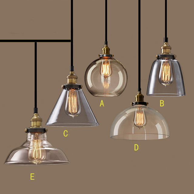 Nordic Vintage Glass Pendant Lamp American Country Kitchen Lights Fixtures  Modern Edison Industrial Luminaire 110v 220v
