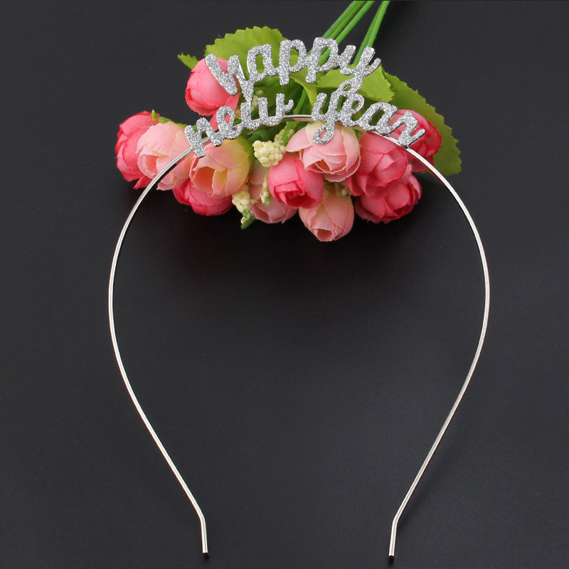 Happy New Year Letter Hairbands For Women Fashion Silver Glitter Alphabet  Headbands Festival Head Wear Girls Hair Accessories-in Women s Hair  Accessories ... 4ca2b323549f