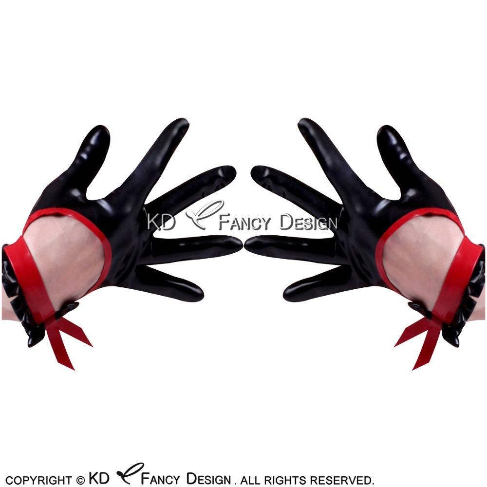 Black With Red Bows And Trims Sexy Short Latex Gloves With Ruffles And Holes Rubber Mittens ST-0039
