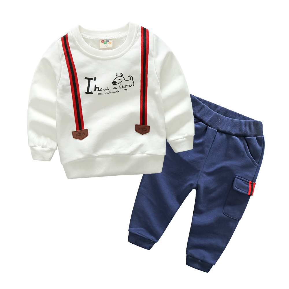 Korean Children Clothing Set Autumn Casual Sport Baby Boys 2Pcs Fake Belt Long Sleeve Hooded Sweatshirt +Pants Kids Clothes 2-6T telling glow