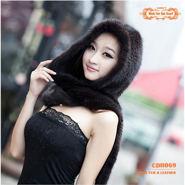 CDH069 2014 Nova Mink Fur Hat Com Lenço para o Inverno para Meninas cor de Café Cor Preta