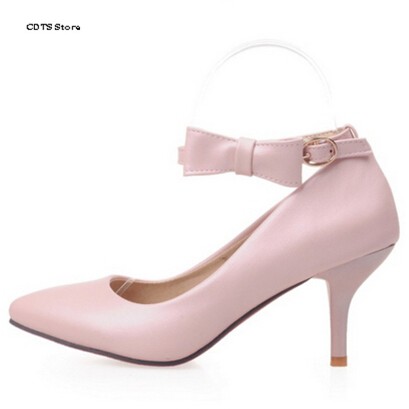 ФОТО CDTS Crossdresser Shallow mouth pointed toe bow thin heels single shoes woman pumps small yards 31 32 33 plus size 40 41 42 43