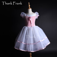 Brand Girls Puff Sleeve Professional Velvet Long Ballet Tutu Dress Children Princess Dance Costume DB92