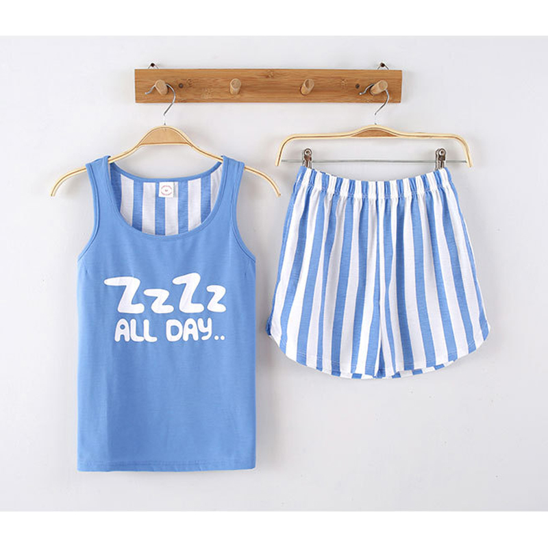KISBINI 2019 Women Summer Pajamas Set Cotton Letter Stripe Print Sleeveless T-Shirt+Shorts Sleepwear Homewear Suit