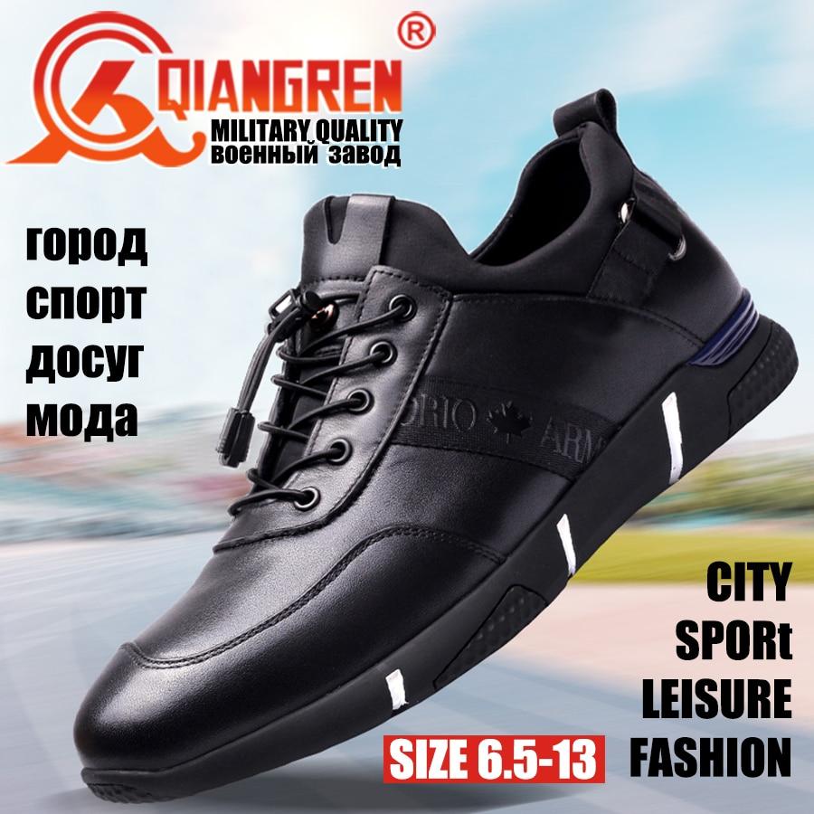Neu Military Schuhe Frühjahr Marke Gummi Freizeit Qiangren Echtem Big Size Mode Kommen Schwarz Casual Leder Männer Kuh wEdqxfH
