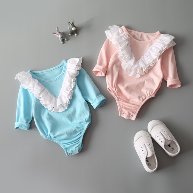 Baby girl Lace Rompers Infant cute Romper long sleeve cotton clothes Kids Jumpsuit Baby Girls Lace Ruffled Petti princess Romper