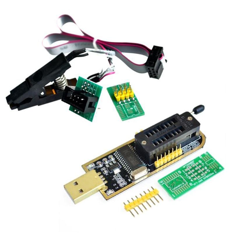 SOIC8 SOP8 pince de Test pour EEPROM 93CXX/25CXX/24CXX + CH341A 24 25 série EEPROM Flash BIOS USB Module de programmeur