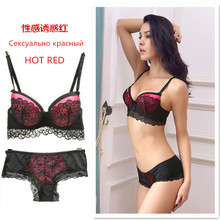 High Quality Women Sexy Lace Bra Set Push Up Panties Floral Underwear Set Lace Bra and Briefs A B 3/4 CUP Free Shipping