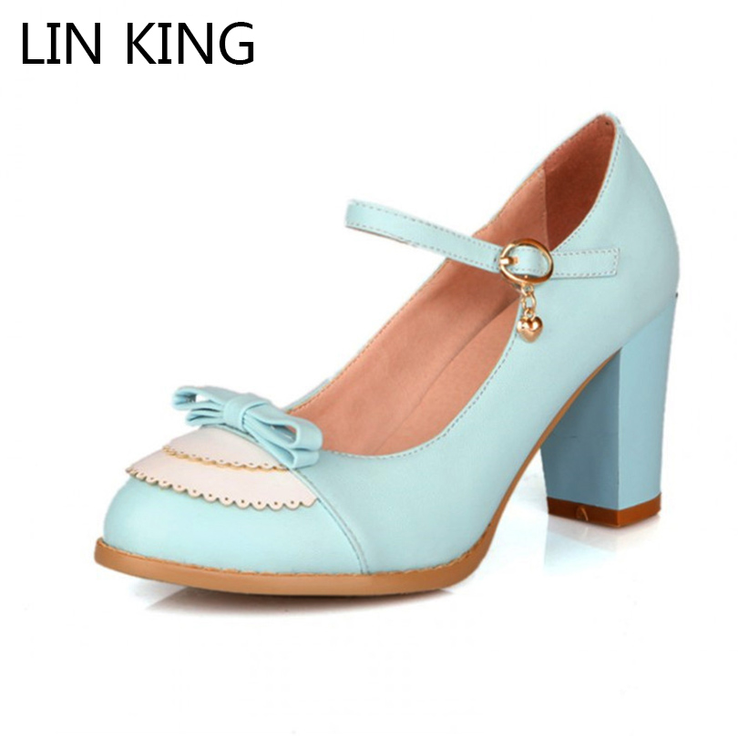 LIN KING Spring & Autumn Women Lolita Shoes Shallow Mouth Thick Heel Platform Pumps Lady Sexy Bowtie High Heels Plus Size 34-43 smoby детская горка king size цвет красный