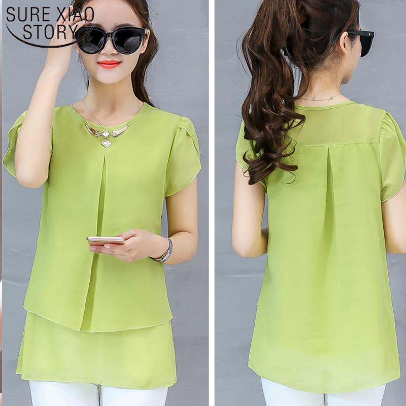 2019 New Short Sleeve   Blouse     Shirt   Multi Colors Casual Tops O-Neck Short Sleeve Chiffon   Shirt   Blusas Femininas Top 4011 50