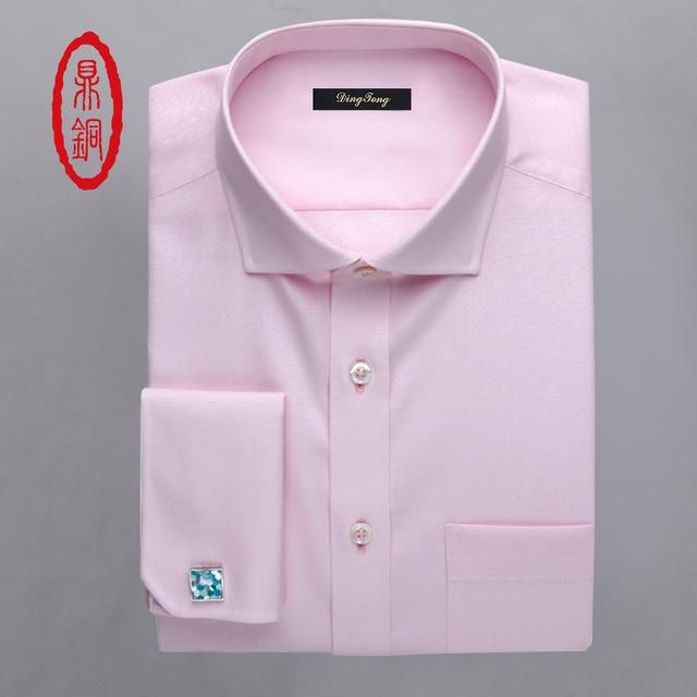 DINGTONG Hombres Rosa Personalizado A Medida de Ajuste Camisa de Esmoquin Formal de Manga Larga camisa 3 Fotos Del Personalizar Camisa de Vestir por 3D Tecnología NO Gemelos