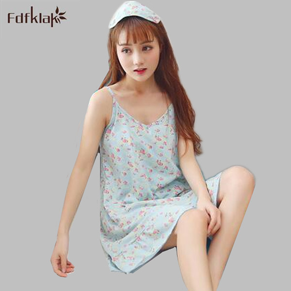 Sexy women nightgowns cotton spaghetti strap shorts nightdress v-neck girls sleepwear home clothes summer sleep dress A551