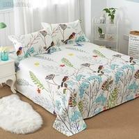 Лидер продаж, простыня для кровати с цветами и птицами, 100% хлопковый наматрасник, простыня на плоской подошве, 1 шт., мягкая постельное белье, ...