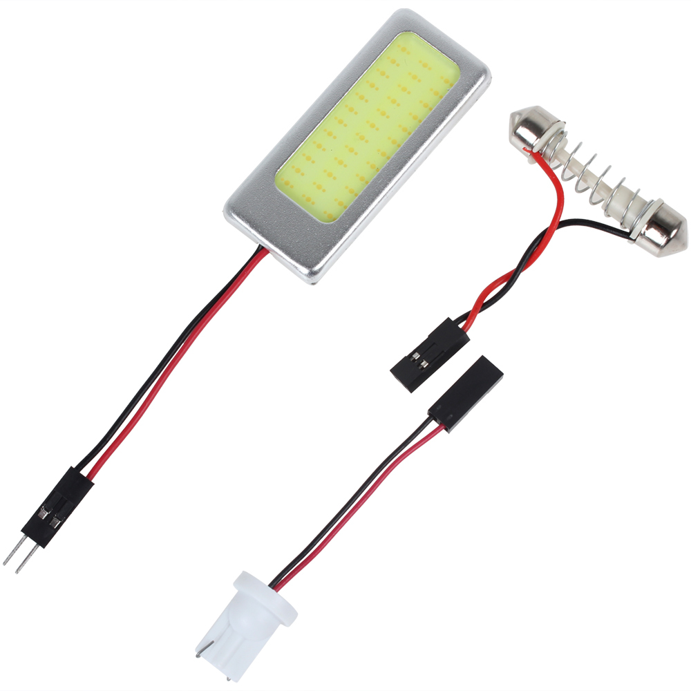Hot Promotion! 6W 12V COB White Light LED Car Reading Lamp Interior Panel Lamp with T10 Festoon Dome Adapter Lowest Price! 2pcs white red blue t10 24 smd cob led panel car auto interior reading map lamp bulb light dome festoon ba9s 3adapter dc 12v led