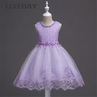 Luxury Baby Girls Formal Dress Brand Summer Style Floral Teenager Lace Princess Evening Party Dresses Bow