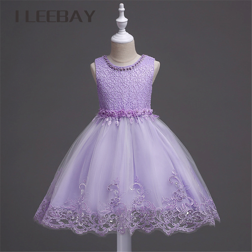 цены Luxury Baby Girls Formal Dress Brand Floral Kids Lace Princess Dress Children Evening Party Costume Infant Beading Tulle Clothes