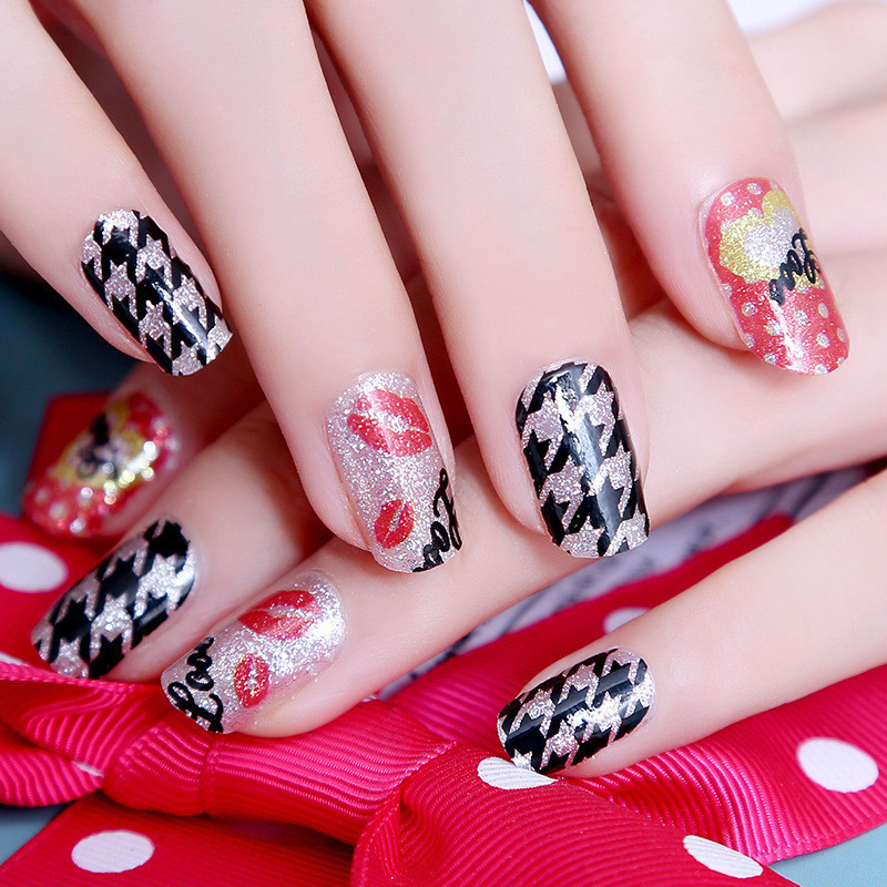 2015 New Nail Stickers Varnish Manicure Cartoon Styles Glitter Nail Art Water Decals Transfers 10PCS-in Stickers & Decals from Beauty & Health on ...