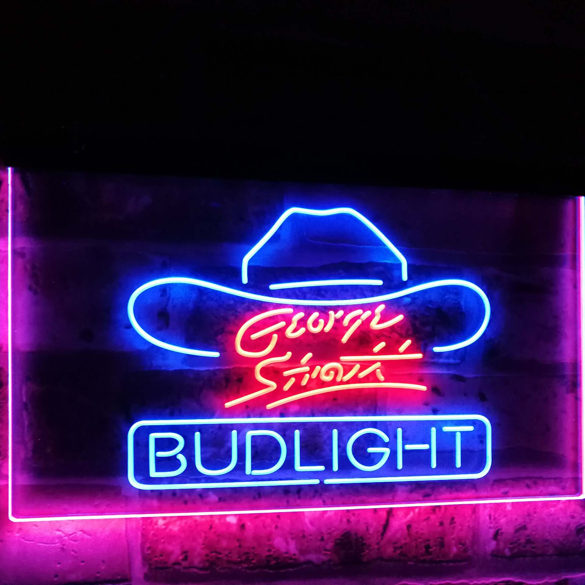 George Strait Bud Light Music Beer Bar Decor Dual Color Led Neon Sign st6 a2116