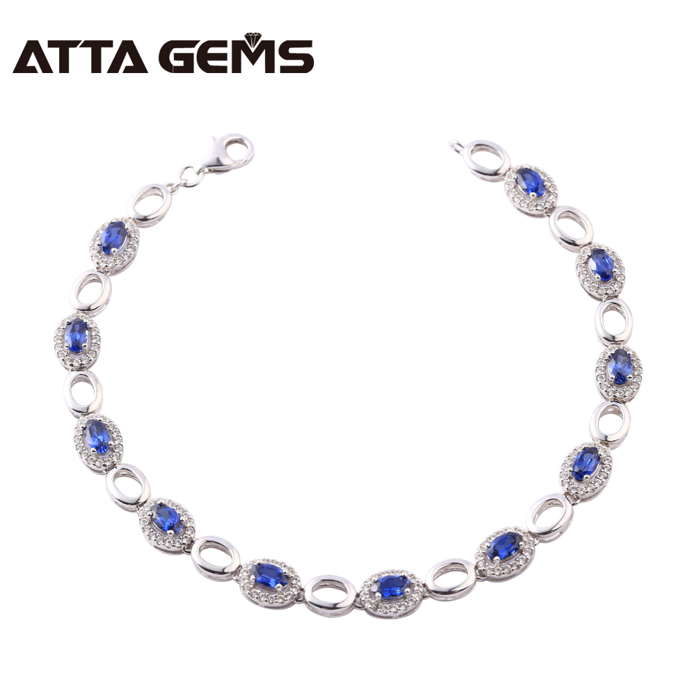 Blue Sapphire 925 Sterling Silver Bracelet Created Blue Sapphire For Women Wedding Party Fashion Sterling Silver Bracelet opk ds967 bracelet blue
