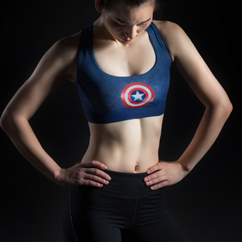 Female Fitness Yoga Bra Sports Bra Padded Batman Captain America Superhero Crop Top Tank Tops Sport Bra Top for sports 5