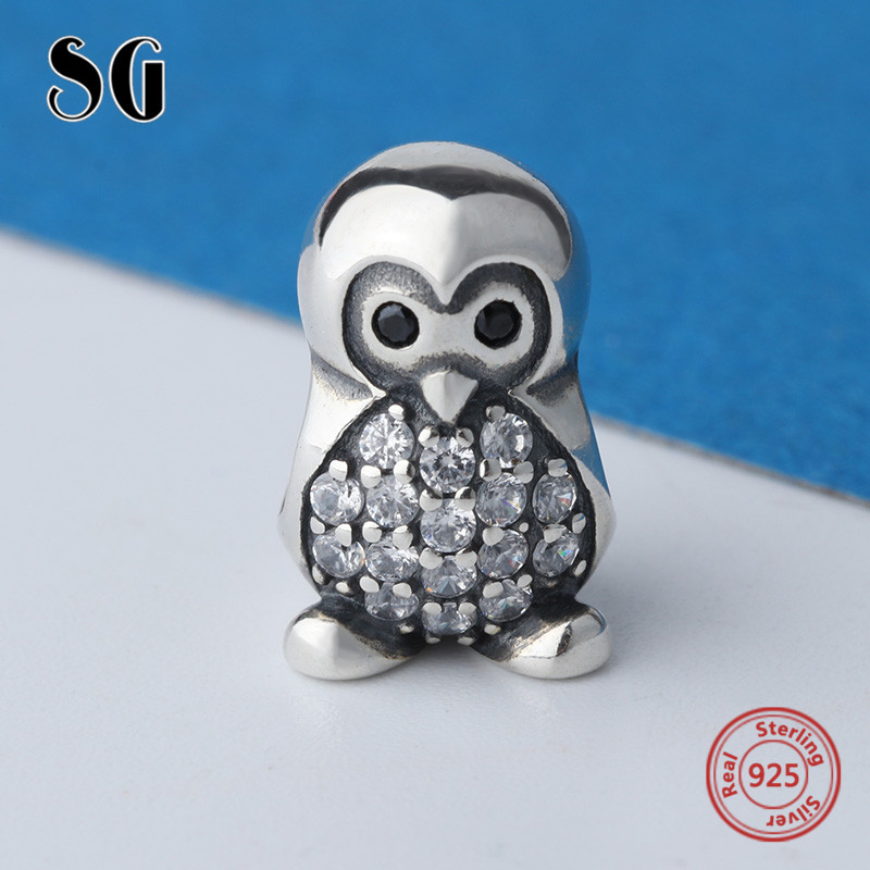 2018 cute penguin Beads with CZ Sterling Silver Diy Pendant Charms fit Authentic pandora Charm Bracelet Fashion Jewelry for gift