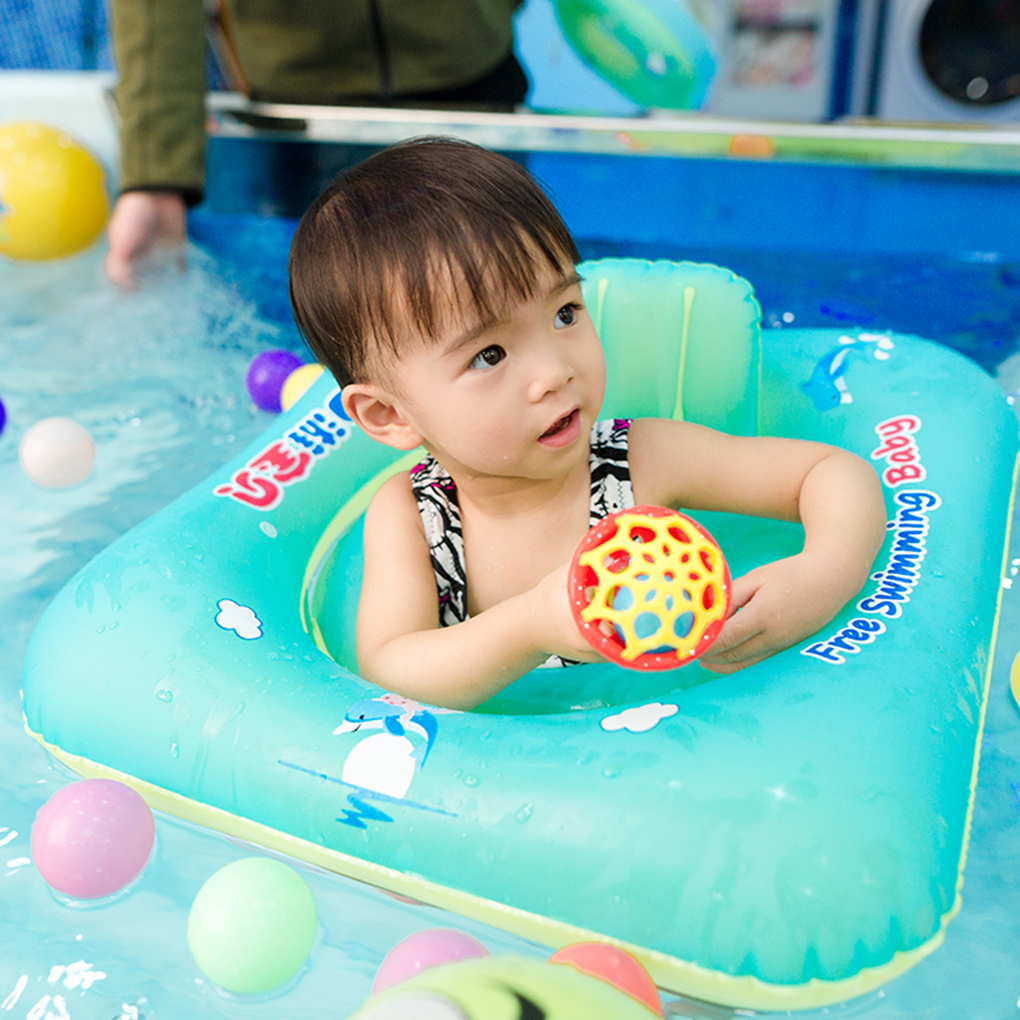 Square-shaped Baby Swimming Seat Float Boat Trainer Inflatable Toddler Kid Swim Pool Ring Floatie with Backrest
