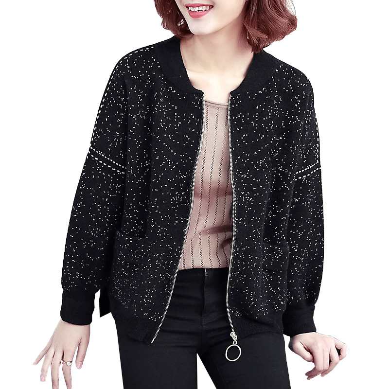 New Arrival 2018 Womens Spring Sweater Cardigan Jacket Fashion Chic Wave Point Baseball Zipper Coats Knitted Female Cardigan