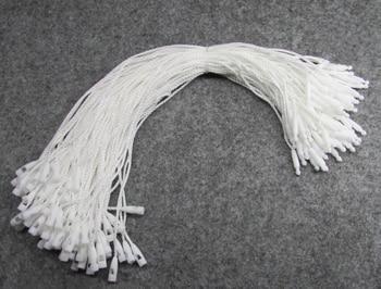 1000 teile/los, Weiß Beige Schwarz Hängen Tag Polyester Seil String Snap Lock Pin Schleife Krawatte Befestigungen
