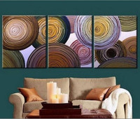 Hand Painted Abstract Color Circles Lines Oil Paintings on Canvas Handmade 3 Panel Wall Painting Modern Home Cuadros Peinture