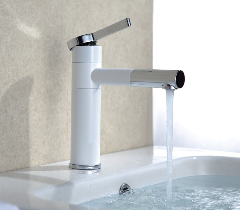 Free shipping white color basin tap Brass white faucet Bathroom Sink ...