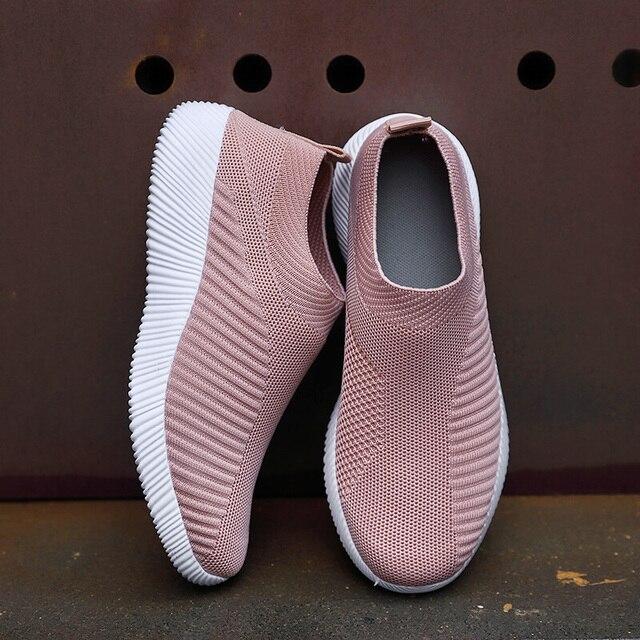 Mulher sapatos de tricô meias tênis mais size43 moda feminina vulcanizar sapatos femininos tênis de malha de ar plana casual tenis feminino 3