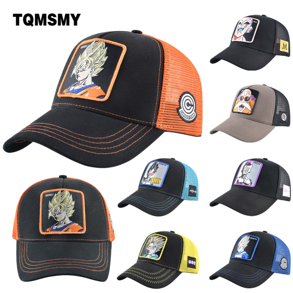 TQMSMY Cartoon Anime Dragon Ball   Baseball     Caps   Men Women Snapback Hip Hop   Cap   Summer Breathable Mesh Trucker Hat Dad Hats A70