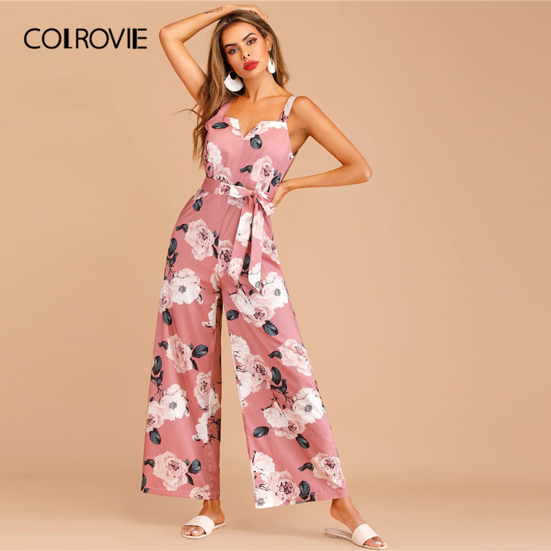 COLROVIE Pink Floral Print Zip Back Belted Sleeveless Boho Cami   Jumpsuit   Women 2019 Summer Holiday Wide Leg Female   Jumpsuits