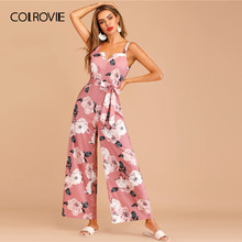 COLROVIE Pink Floral Print Zip Back Belted Sleeveless Boho Cami Jumpsuit Women 2019 Summer Holiday Wide Leg Female Jumpsuits(China)