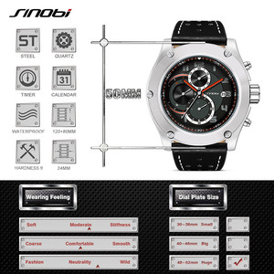Image 3 - Relogio masculino SINOBI nowy mężczyzna chronografu zegarki na rękę kalendarz wodoodporne sportowe skórzane męska genewa wojskowy zegar kwarcowy