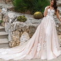 2017 Модный Светло-Розовый Спинки Свадебные Платья с Белым Кружева Цветочные Аппликации 3D Свадебные Платья 2017 Vestido Де Casamento