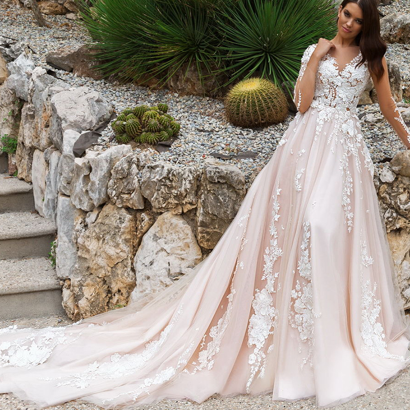 2017 Fashionable Light Pink Backless Wedding Dresses with ...