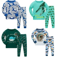 Купить с кэшбэком Dream Big Pajamas For Boys Girls Kids Shark Sleepwear Children Animal Nightwear Christmas Pyjamas Pijamas for 3-8 Y