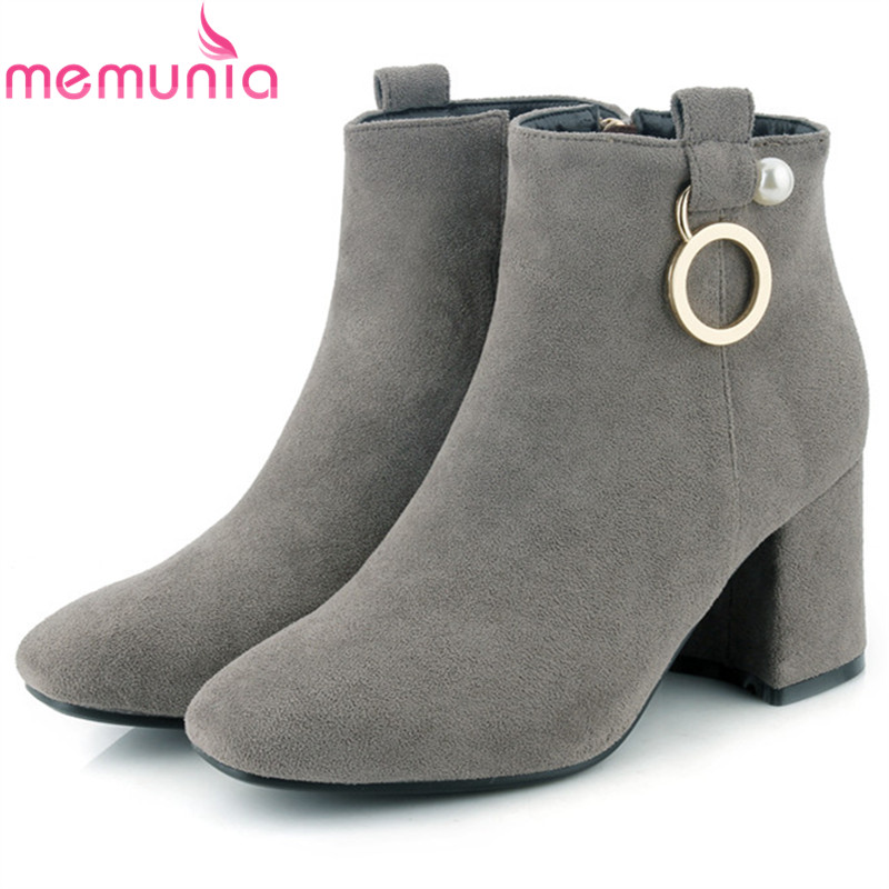 MEMUNIA Square heels shoes woman fashion boots female flock zip high heels ankle boots for women in spring autumn boots memunia height increasing shoes woman in spring autumn ankle boots for women pu nubuck leather fashion boots female solid zip