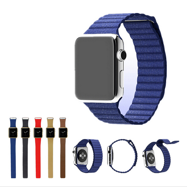 100% Genuine link bracelet For Apple Watch Band Leather Loop 42mm Adjustable Magnetic Closure For Apple Watch leather strap 38
