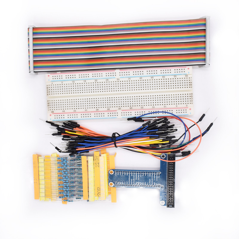 T Type GPIO Extension Board DIY Breadboard /Jumper Wire/Resistors/ Rainbow 40 Pin Flat Ribbon Cable for Raspberry Pi 2 3 Model B