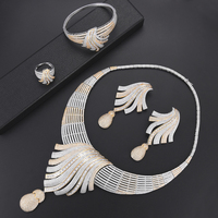 missvikki 4PCS Full Crystal Nigerian African Wedding Jewelry Sets For Bridle Dubai Gold Jewellery Set For Women Engagement Party
